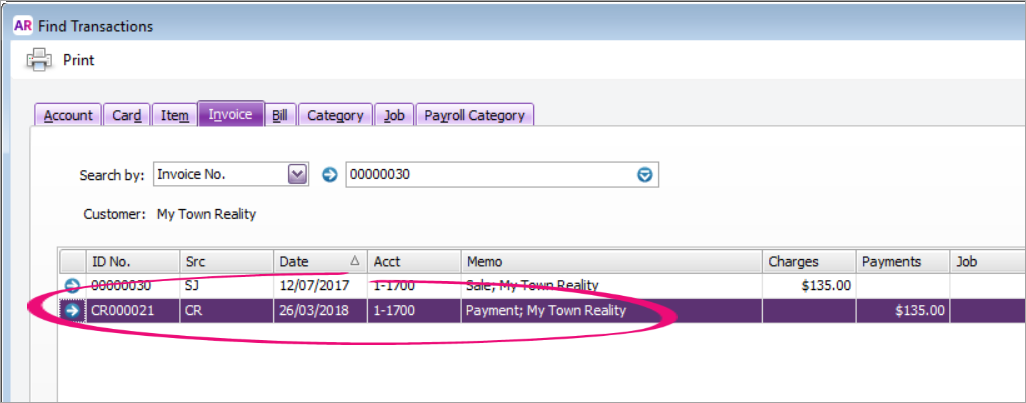 Find transactions window with payment transaction highlighted