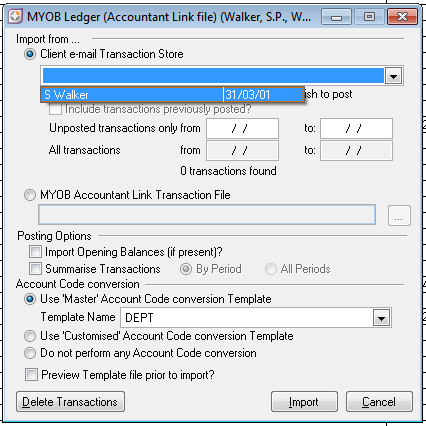 Importing transactions from AccountRight into AO Classic