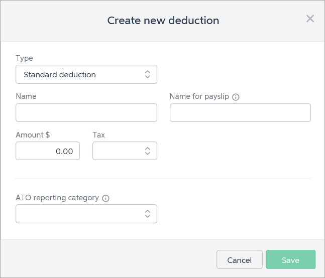 Create new deduction window