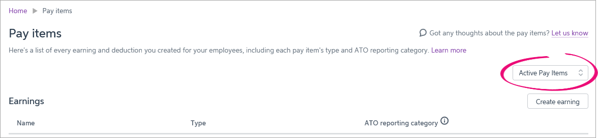 Pay item filter option with active pay items highlighted