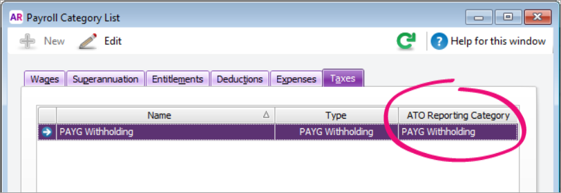 Payroll Category Liust window showing ATO reporting category set to PAYG withholding
