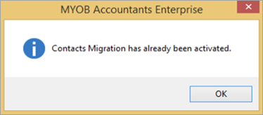 Contacts migration has already been activated