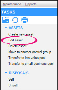 Edit Asset circled on Task panel