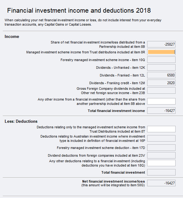 Financial investment income and deductions (fip) - PS Help
