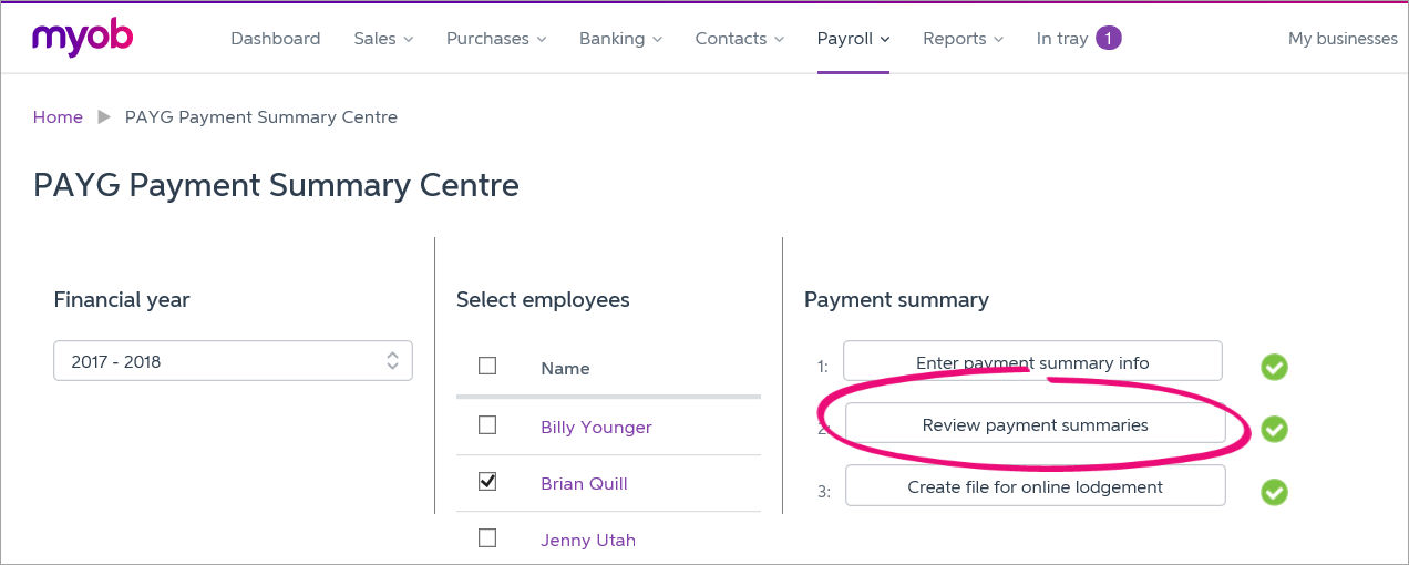 PAYG Payment Summary Centre with review payment summaries button highlighted
