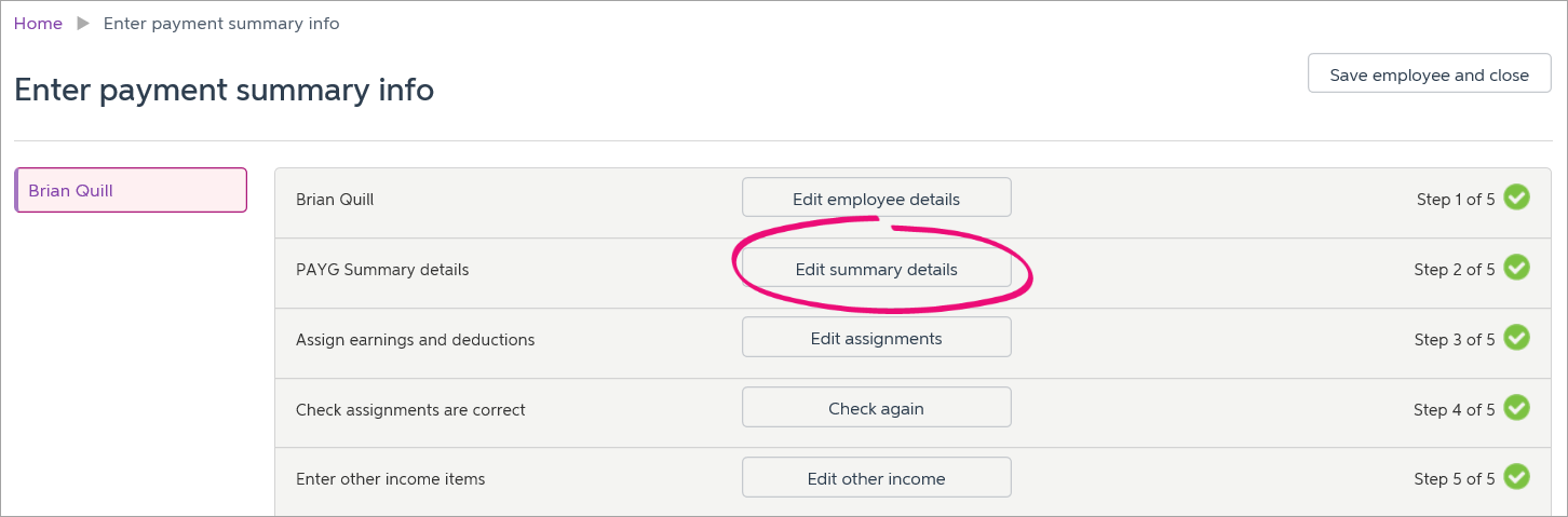 edit summary details button highlighted