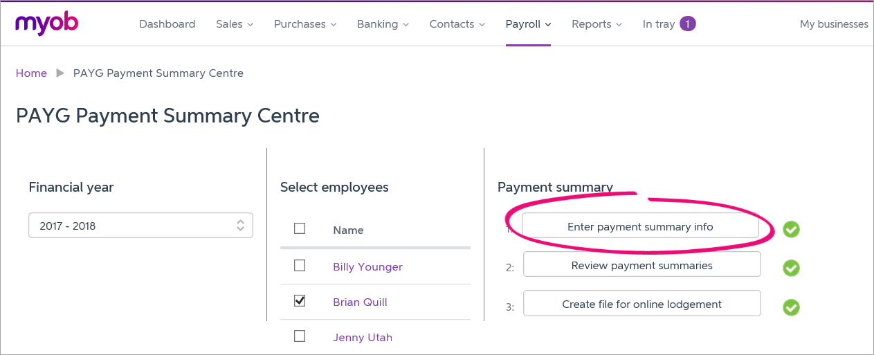 PAYG Payment Summary Centre with enter payment summary info button highlighted