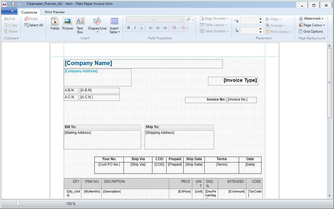 Adding Your Bank Details To Invoices MYOB AccountRight MYOB Help - Invoice with bank details