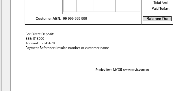Payment details shown on previewed invoice