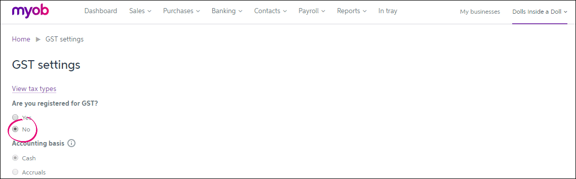 Essentials GST settings not registered for GST