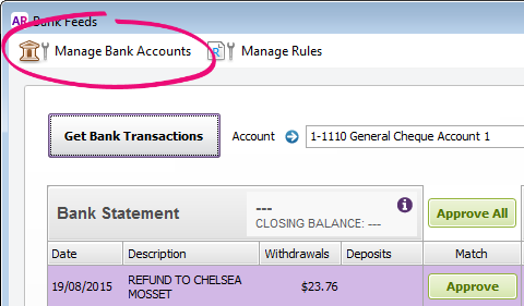 Bank feeds window with manage bank accounts button highlighted