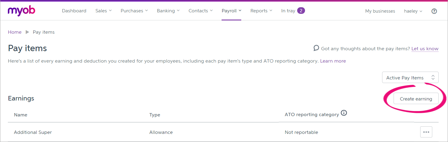 Pay items page with create earning button highlighted