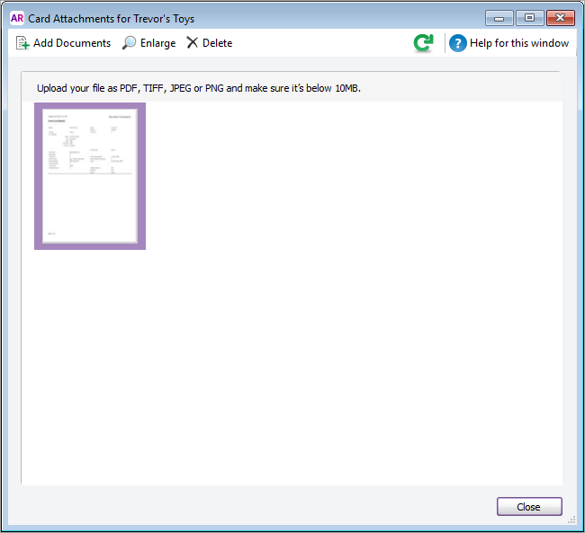 Attaching documents to your cards - MYOB AccountRight - MYOB