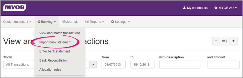 Importing a Bank Statement into MYOB Ledger - PS Help