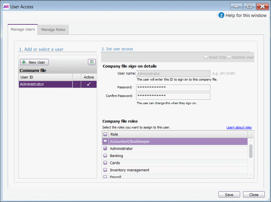 AccountRight User Access window