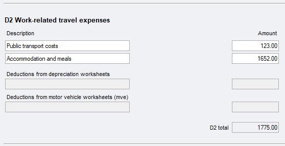 Item D2 Work Related Travel Expenses