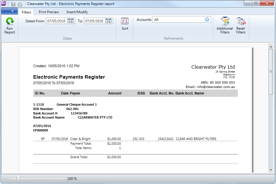 Example electronic payments register report