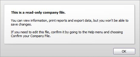 Message displaying this is a read-only company file