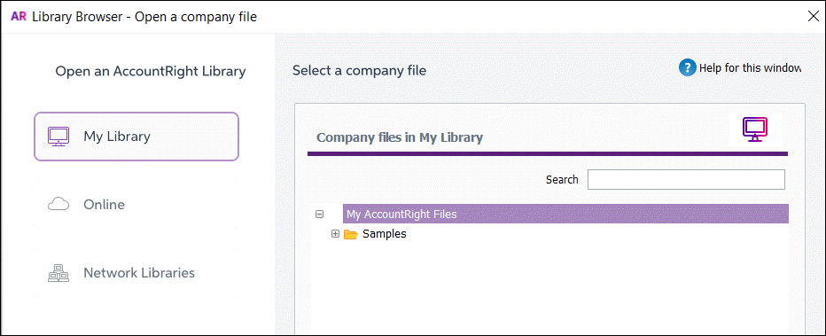 AccountRight library browser