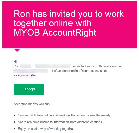 accept an invitation to work online myob accountright myob help