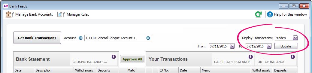 Hiding bank feed transactions - MYOB AccountRight - MYOB