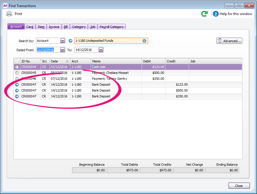 Find transaction window with 3 transactions in a bank deposit highlighted