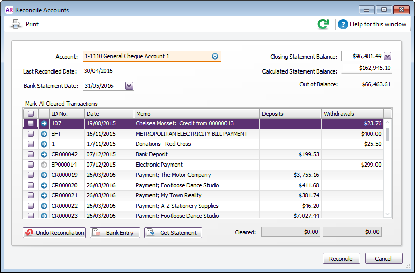 Reconcile accounts window with unreconciled transactions listed