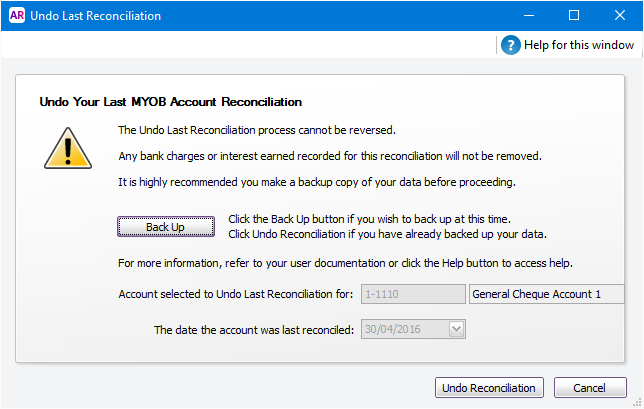 Undo last reconciliation window with back up button
