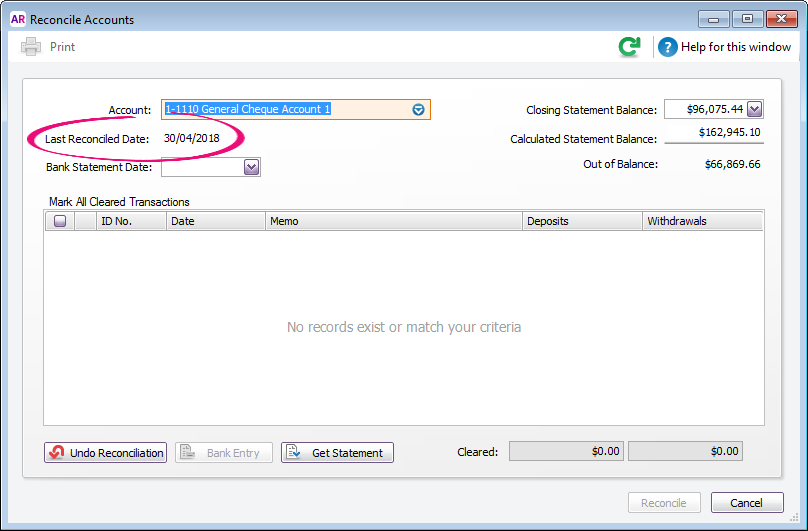 Reconcile accounts window with last reconciled date highlighted