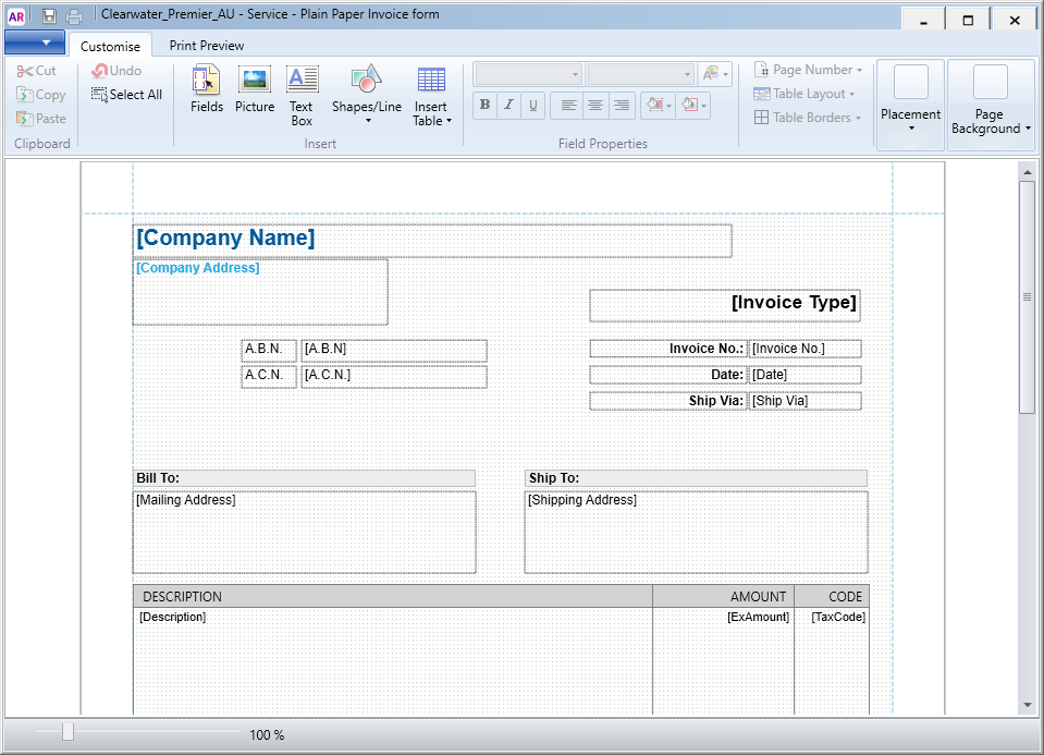 Invoice customisation window