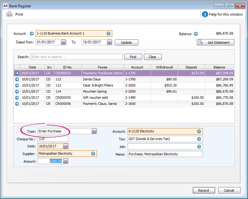 bank register software