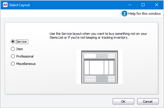 Select layout window with service option selected