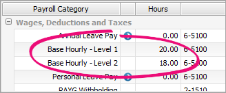 two base hourly wage categories on a pay