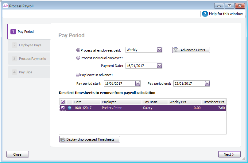 Process payroll window