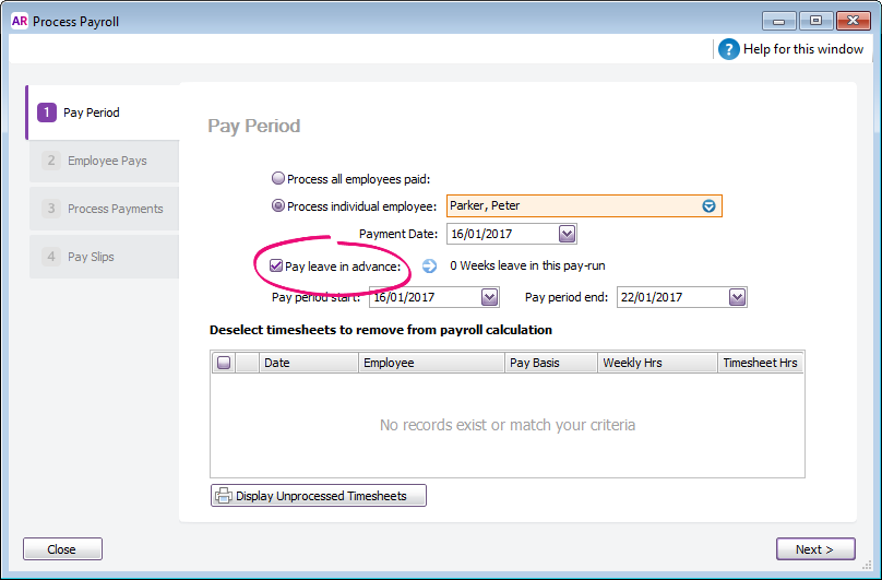 Process payroll window with pay leave in advance option selected