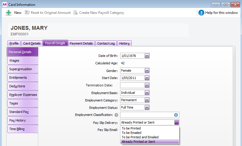 Employee card default payslip delivery method