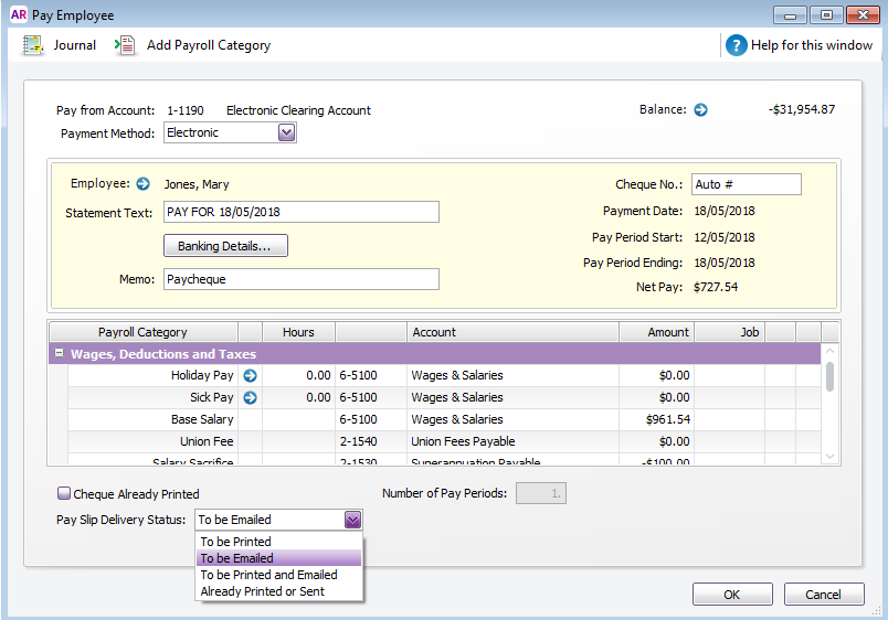 Pay Employee window Pay Slip Delivery Status