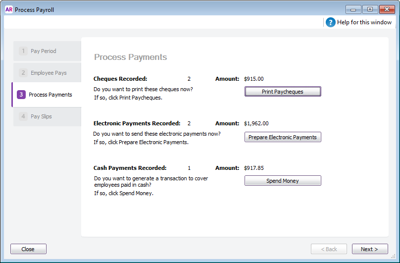 Process payments window