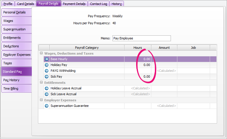 Example standard pay with zero hours highlighted