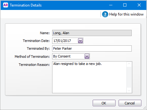Termination details window with details entered