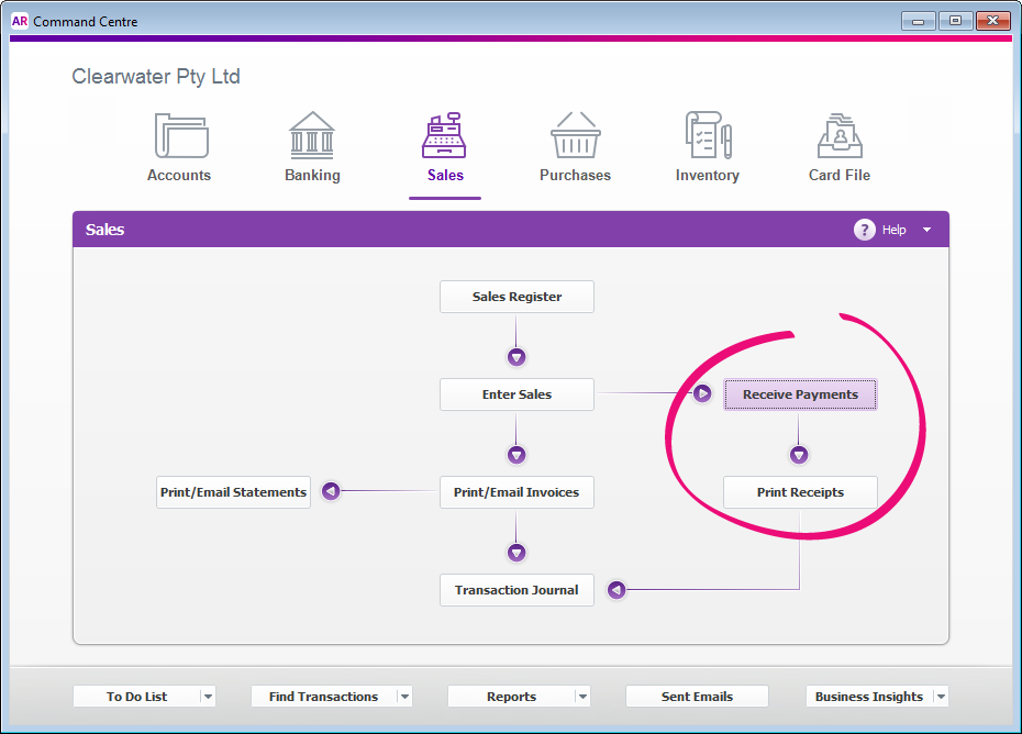 Sales command centre with receive payments and print receipts buttons highlighted