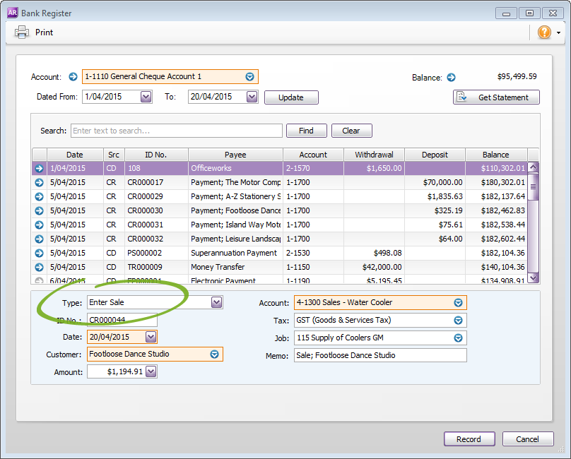 how to get information from bank in myob