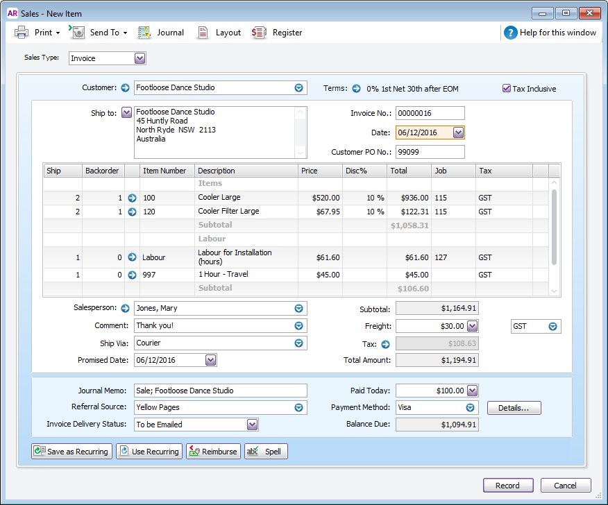 enter an invoice, quote or order - myob accountright - myob help, Invoice templates