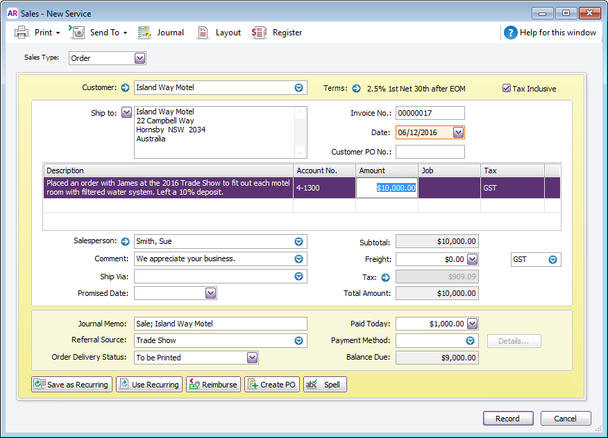 Enter An Invoice Quote Or Order MYOB AccountRight MYOB Help Centre - Invoice asap for windows