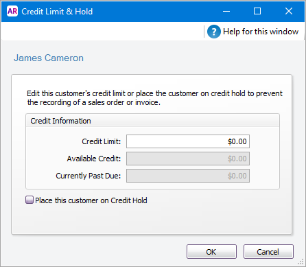 Credit limit and hold window