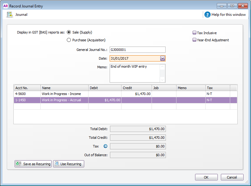 Work In Progress MYOB AccountRight MYOB Help Centre - Invoice journal entry example