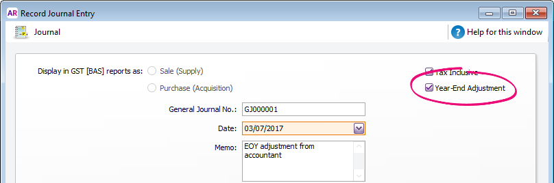 Journal window with year end adjustment option selected