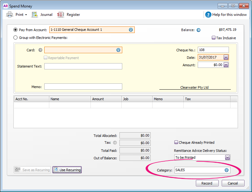 spend money transaction with category field highlighted