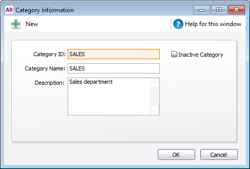 example category called sales