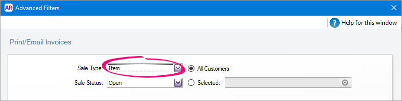 set the default forms to use when emailing or printing - myob, Invoice examples